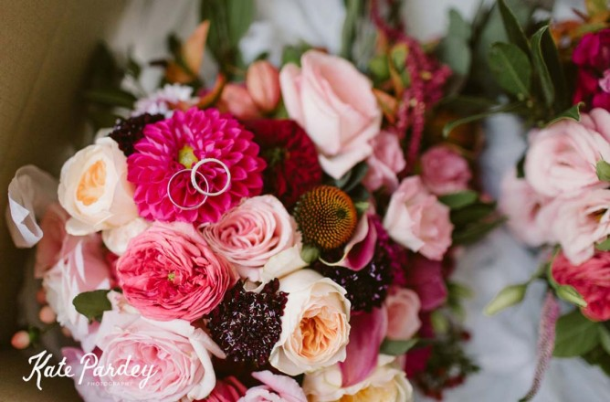 berry tone wedding bouquet