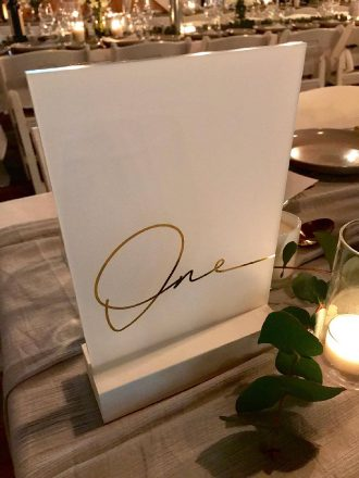 Gold Frosted Table Numbers