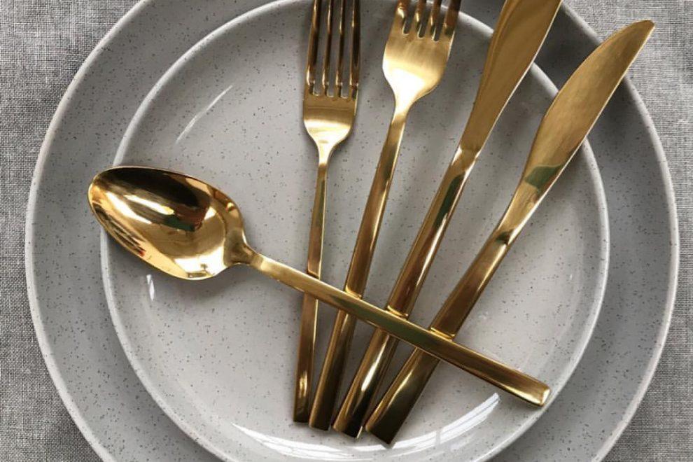 Gold Mirror Modern Cutlery