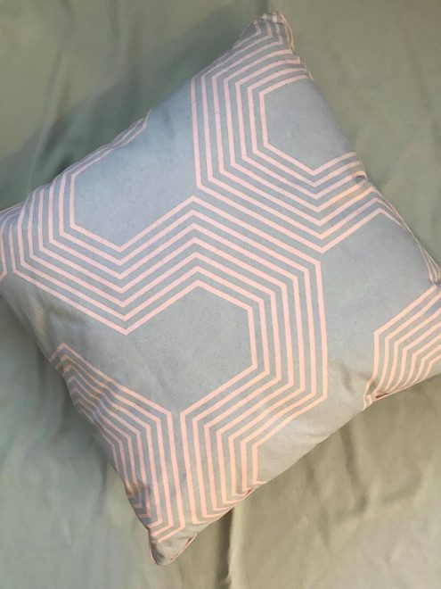 Pink and Grey Geo Cushion